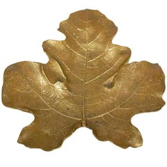 Naturalistic Brass Maple Leaf Tray, Dated 1948