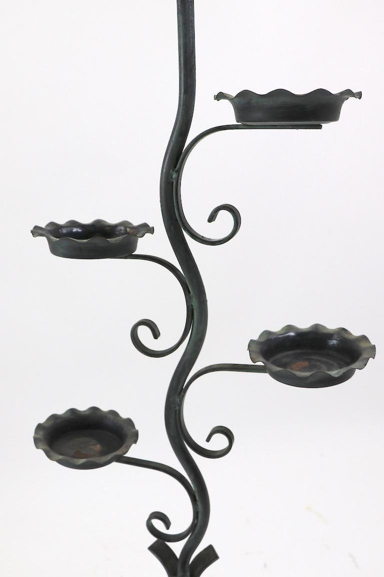 20th Century Naturalistic Plant Stand Floor Lamp attributed to Salterini  For Sale