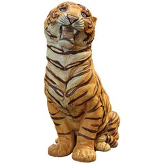 Naturalistic Porcelain Tiger Sculpture or Statue