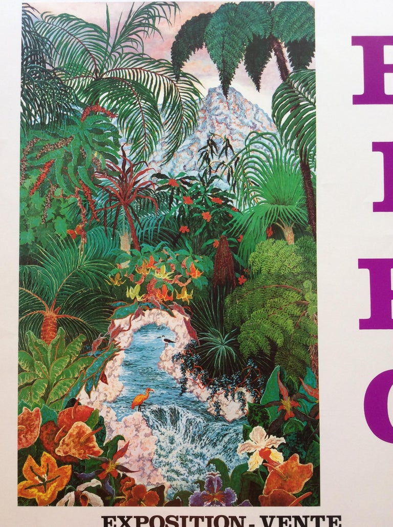 This is a beautiful original art exhibition poster depicting the work of RIEC (possibly an artist from the Balkans). These vibrant botanical colors will brighten any space.   Look closely at the birds, flowers, stream, mountains in the background,