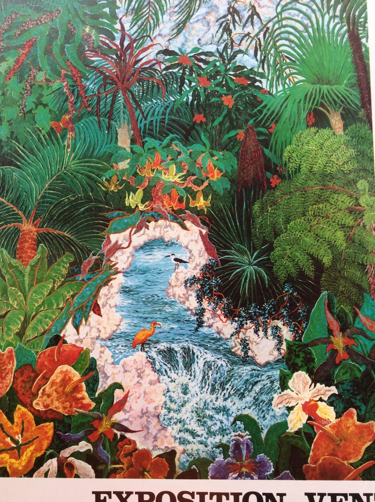 Mid-Century Modern Nature Depicted 1970s Vintage Riec Art Exhibition Poster For Sale
