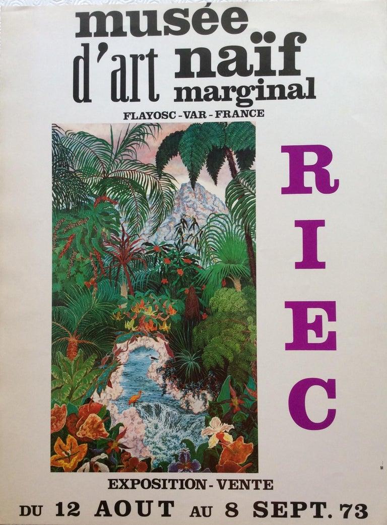 Paper Nature Depicted 1970s Vintage Riec Art Exhibition Poster For Sale