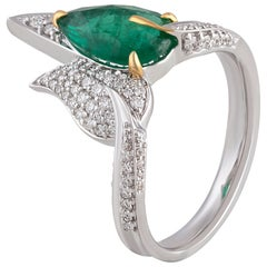 Nature Inspired Diamond and Emerald Cocktail Ring in 18 Karat White Gold