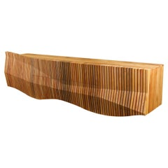 Nature Inspired Modern Organic Credenza Made from Sustainable River Rescued Wood