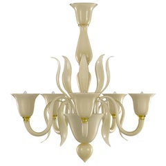Nature Mood Chandelier 5 Upwards Arms Smoky Murano Glass Swing 275 by Multiforme