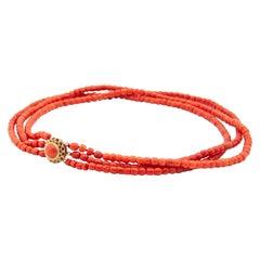 14 Karat Gold Multi-Strand Coral Beaded Necklace
