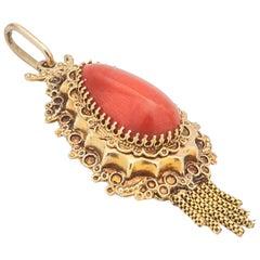 Vintage 14 Karat Gold Filigree Coral Tassel Pendant