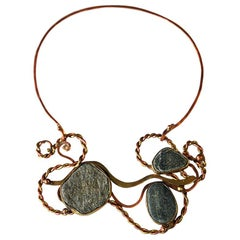 Vintage Naturstone and Brass/Copper Necklace by Anna Greta Eker, Norway, 1960s