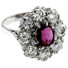 Natutal Ruby No Enhancements White Diamond Cluster Ring