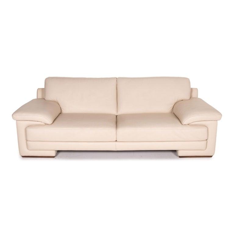 Natuzzi 2198 Leather Sofa Cream Three-Seater Couch For Sale 1