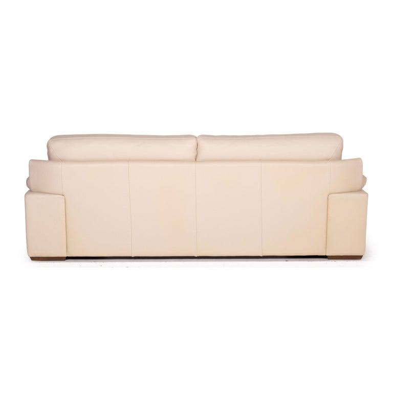 Natuzzi 2198 Leather Sofa Cream Three-Seater Couch For Sale 3