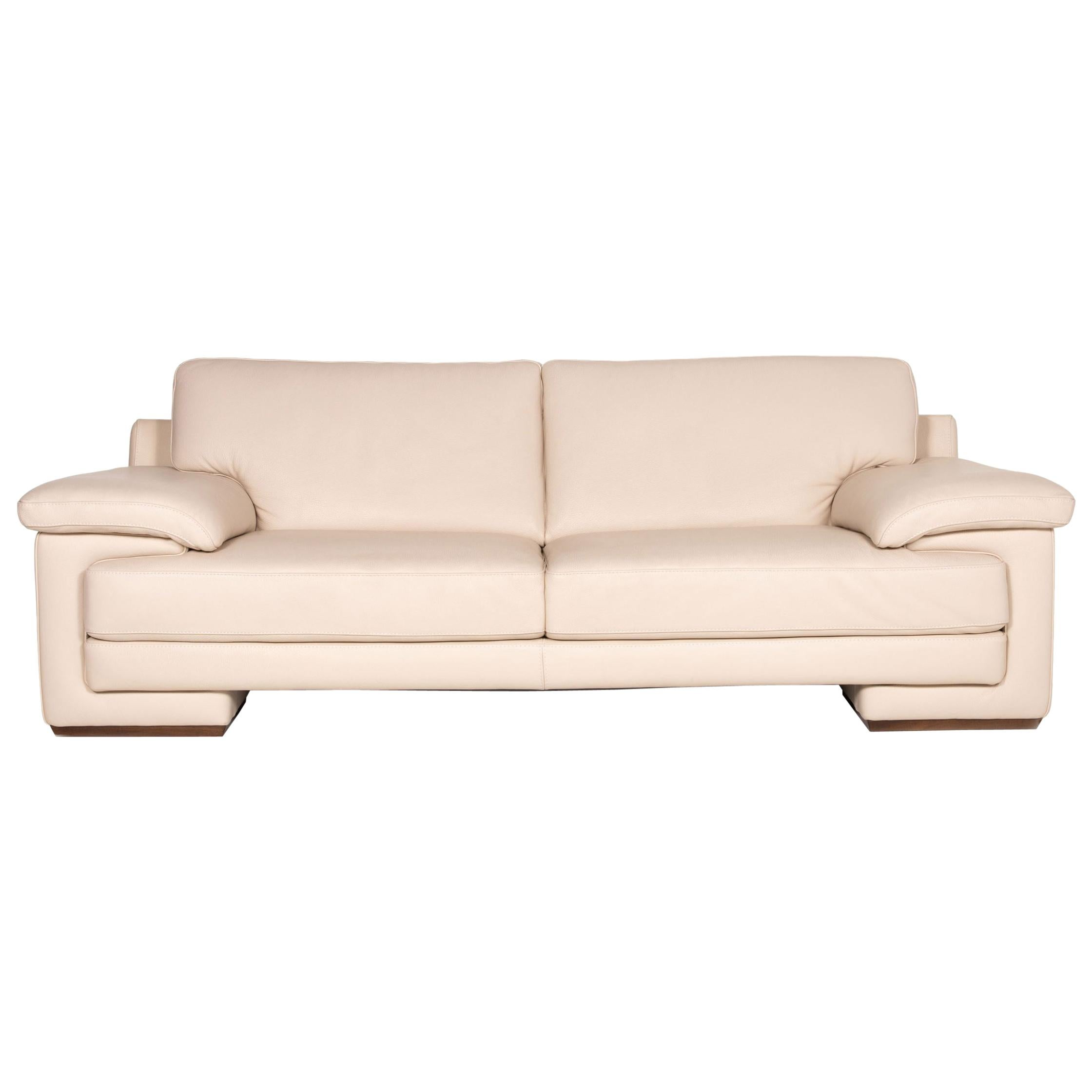 Natuzzi 2198 Leather Sofa Cream Three-Seater Couch