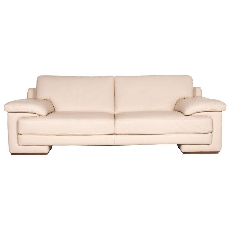 Natuzzi 2198 Leather Sofa Cream Three-Seater Couch For Sale