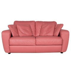 Natuzzi Designer Leather Sofa Red Pink Real Leather Two-Seat Couch