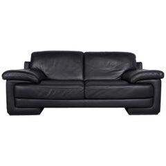 Natuzzi Designer Leather Three-Seat Sofa Couch in Black