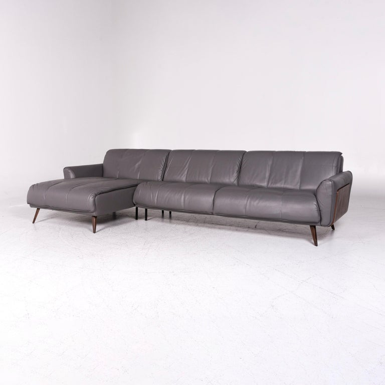 Natuzzi Editions Talento Designer Leather Corner Sofa Gray Sofa Couch