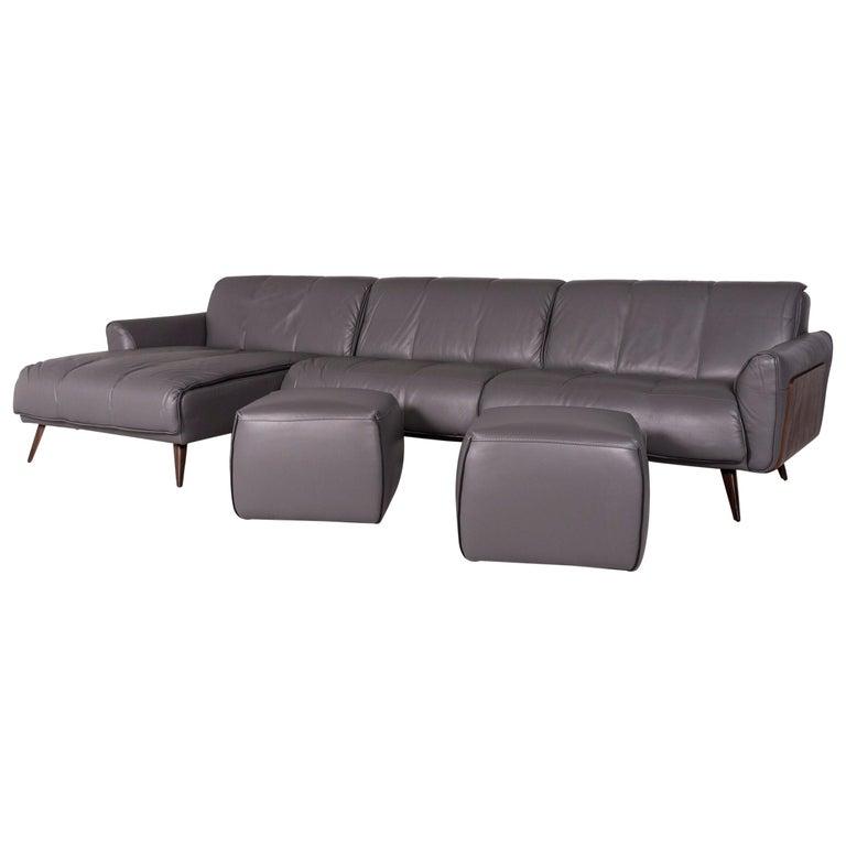 Super Natuzzi Editions Talento Designer Leather Sofa Set Gray 1X Pabps2019 Chair Design Images Pabps2019Com
