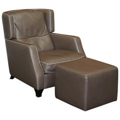Natuzzi Italia Amadeus Platinum Grey Leather Armchair & Footstool Made in Italy