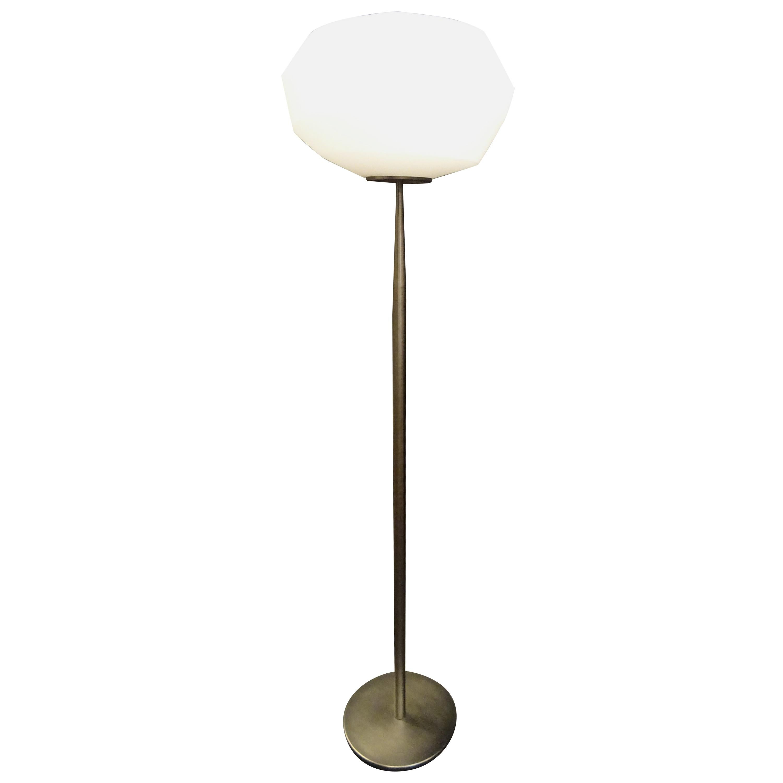 Natuzzi Italian Blown Glass in Mat White and Polished Steel Floor Lamp