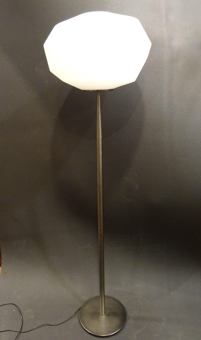 Natuzzi Italian Blown Glass in Mat White and Polished Steel Floor Lamp For Sale 6