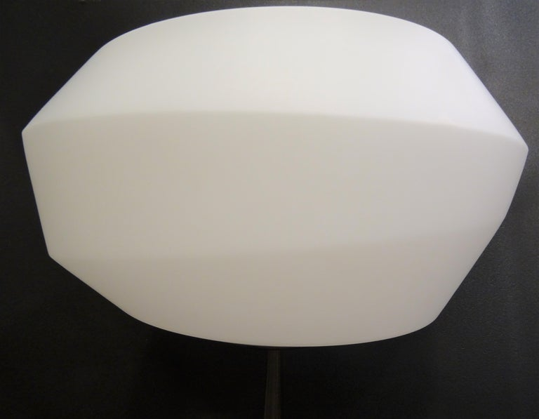Hand-Crafted Natuzzi Italian Blown Glass in Mat White and Polished Steel Floor Lamp For Sale