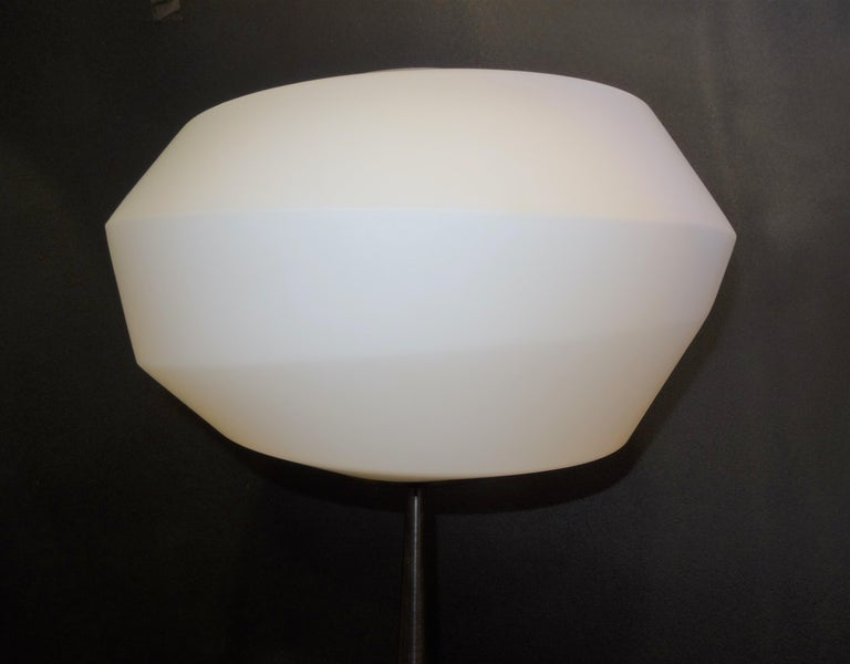 Contemporary Natuzzi Italian Blown Glass in Mat White and Polished Steel Floor Lamp For Sale