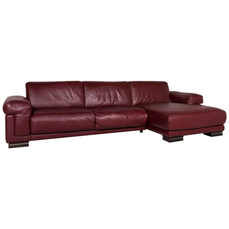 Natuzzi Leather Corner Sofa Bordeaux Red Sofa Couch For