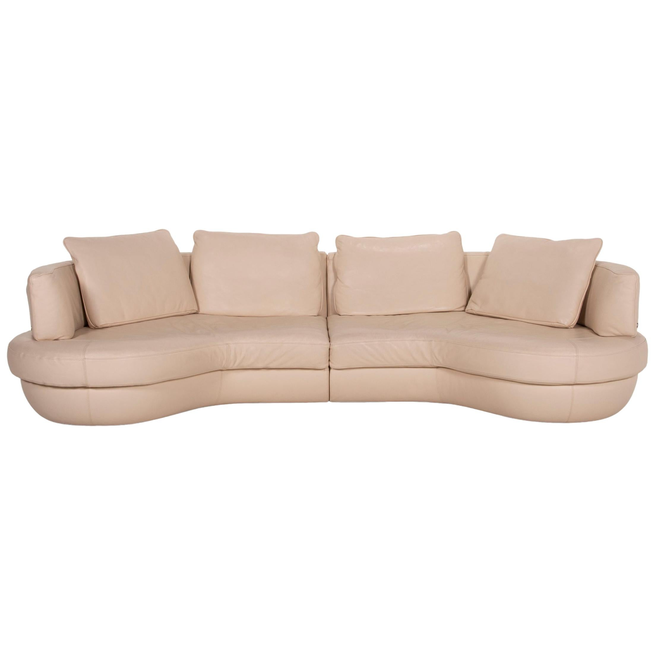 Natuzzi Leather Corner Sofa Cream Function Sofa Couch