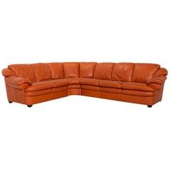 Natuzzi Leather Corner Sofa Terracotta Orange Sofa Couch