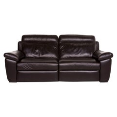 Natuzzi Leather Sofa Brown Dark Brown Three-Seat Function Relax Function Couch