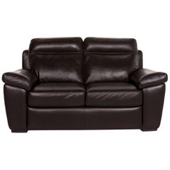 Natuzzi Leather Sofa Brown Dark Brown Two-Seat Couch