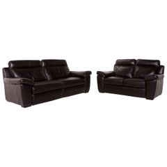 Natuzzi Leather Sofa Set Brown Dark Brown 1 Three-Seat 1 Two-Seat Couch