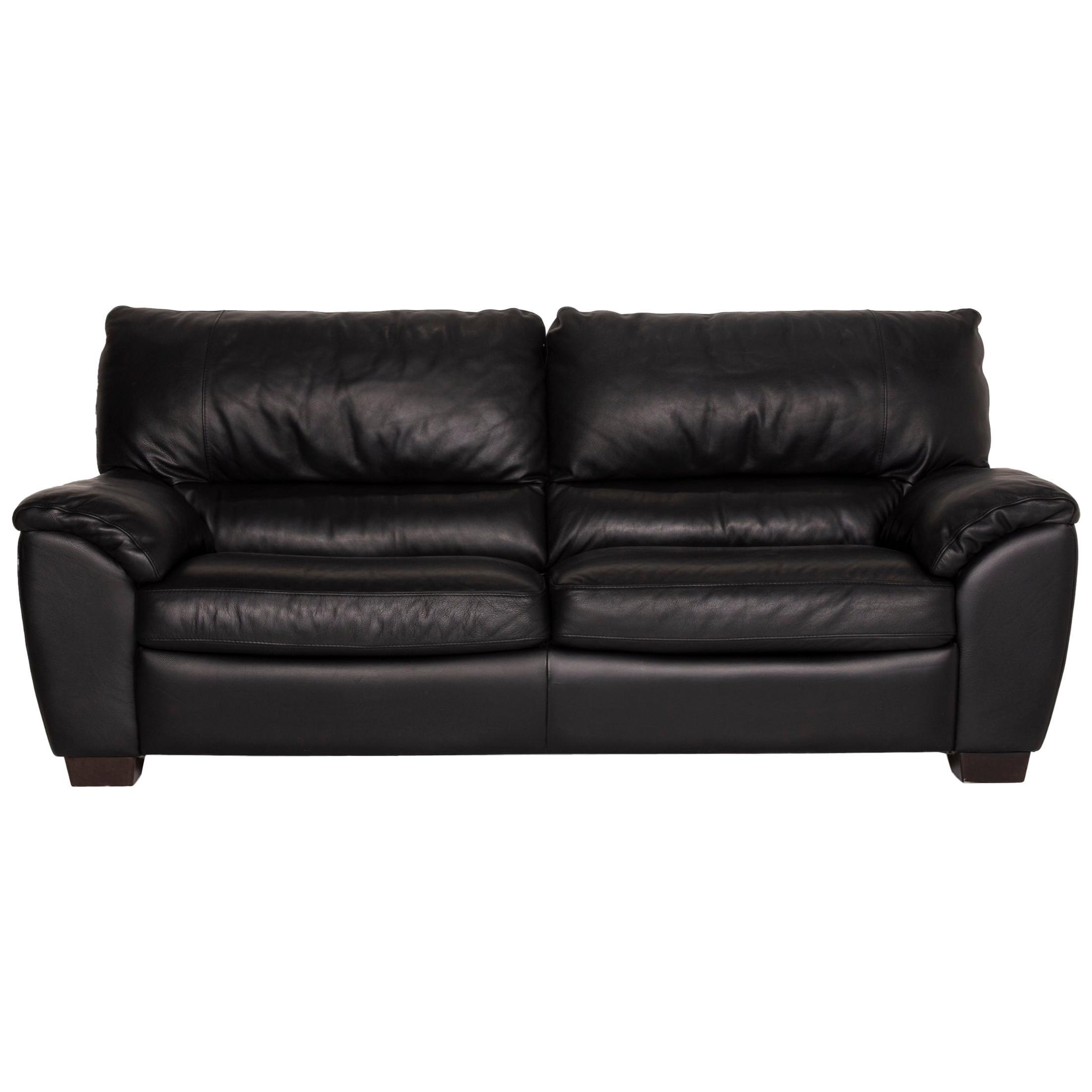 Natuzzi Two-Seater Leather Sofa Black