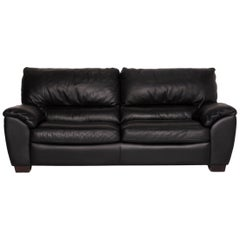 Natuzzi Two-Seater Leather Sofa Black