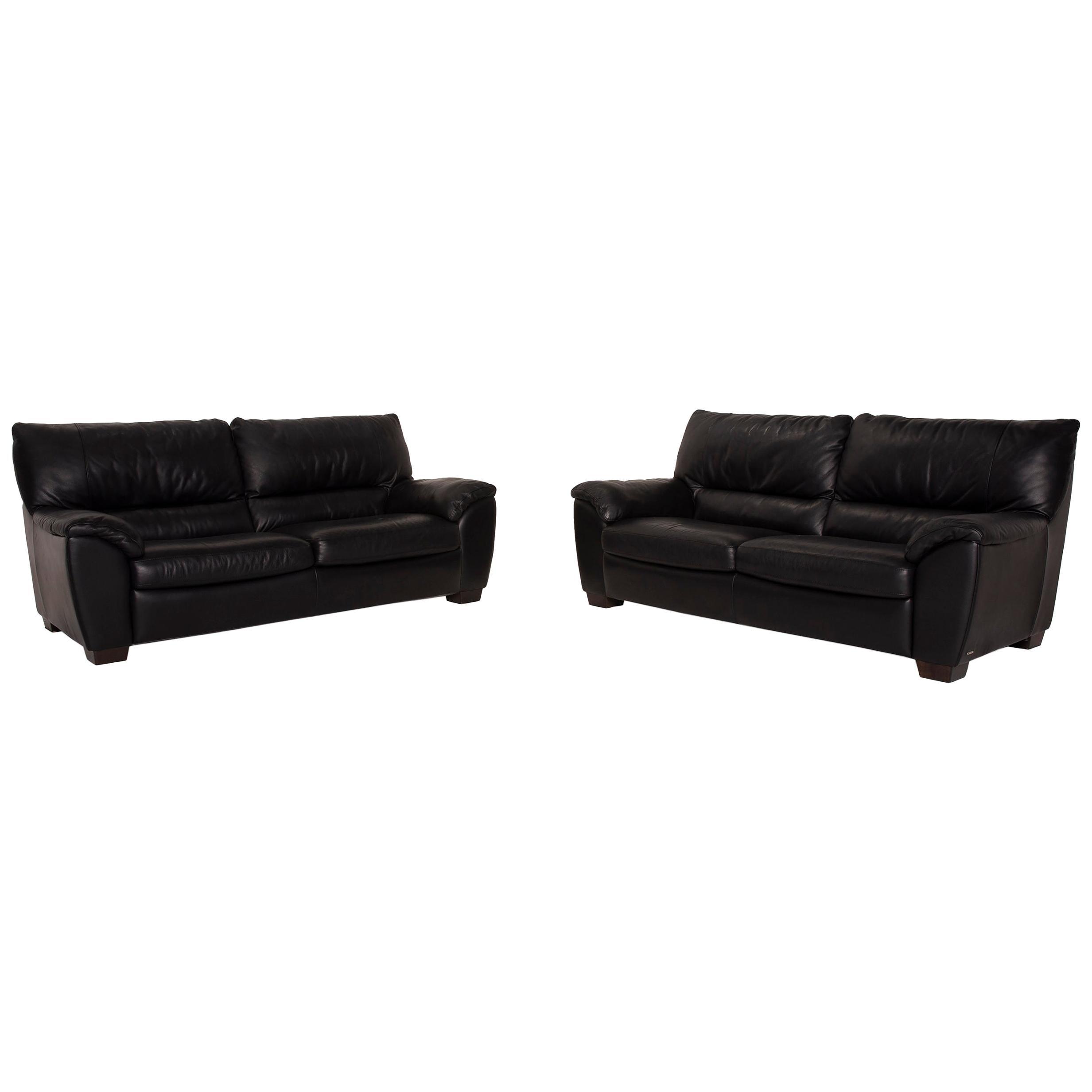 Natuzzi Two-Seater Leather Sofa Set Black 2x Two-Seater