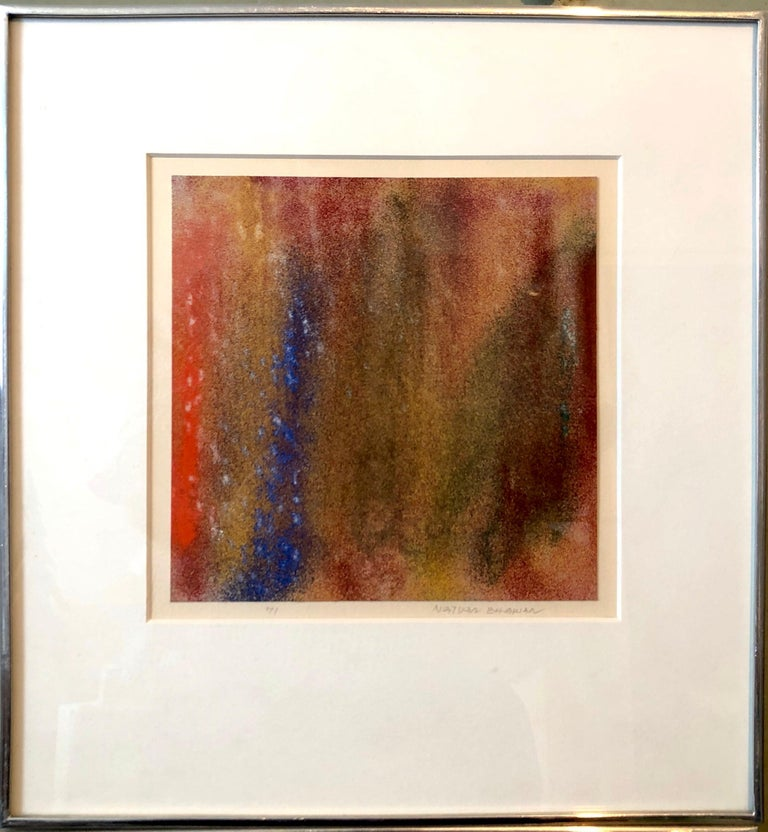 Framed it measures 12.5 x 11.75. actual image is 7.25 x 7.25 The colors are hard to capture. please see all photos to get a sense of the piece.  Natvar Bhavsar (born 1934) is an Indian-American artist, based in Soho, New York City for nearly 50