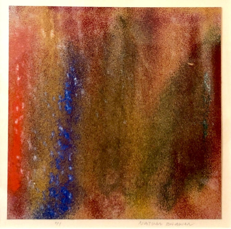 1971 New York Indian Abstract Expressionist Color Field Painting Natvar Bhavsar - Brown Abstract Painting by Natvar Bhavsar
