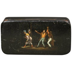 Naughty 19th Century Hand Painted & Black Lacquered Papier-Mâché Snuff Box