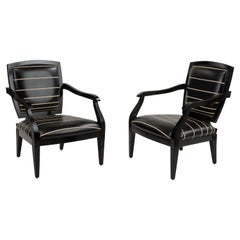 Naughty Pair of Black Leather Smania Italian Club Chairs with White Stitching