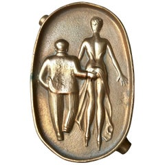 Naughty Risque Double Sided Bronze 'Ass'-tray, 1960s