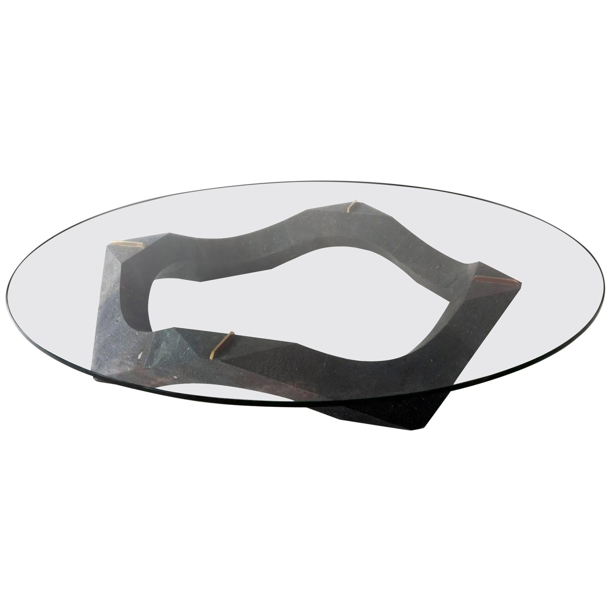 Contemporary Lava Stone and Glass Center Table from Mexico City