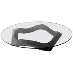 Contemporary Lava Stone and Glass Center Table