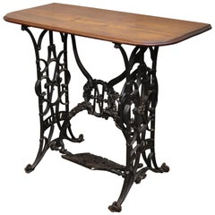 Naumann Cast Iron Victorian Sewing Machine Base with Wood Top Console Small Desk