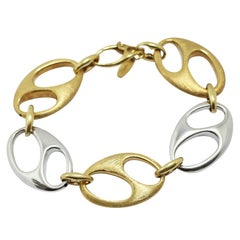 Nautical Anchor Link Bracelet 18 Karat White Gold and Yellow Satined Gold