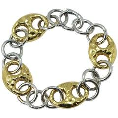 Nautical Anchor Link Bracelet 18 Karat Yellow and White Gold