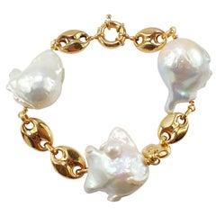 Nautical Anchor Link Bracelet 18 Karat Yellow Gold and Mabé Pearls