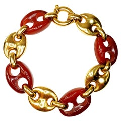 Nautical Anchor Link Bracelet 18 Karat Solid Yellow Gold and Red Carnelian