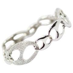 Nautical Anchor Link Bracelet 18k White Gold and 1.5 Carat of White Diamonds