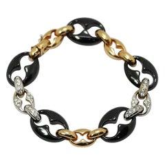 Nautical Anchor Link Bracelet 18k Yellow Gold, Black Porcelain & White Diamonds