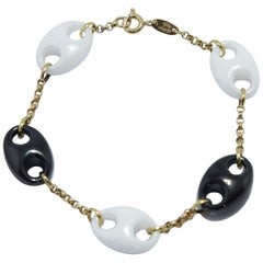 Nautical Anchor Link Bracelet 18k Yellow Gold Chain, Black and White Porcelain